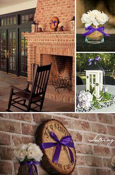 reception, country, outdoor, purple, wedding, fireplace wedding,