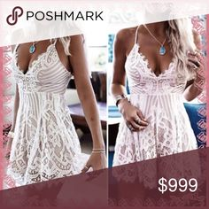 🦉just in🦉gorgeous mini dress So pretty white lace over tan- beige liner   Back straps are adjustable for better fit - Dress is nice and stretchy   Small measures - bust 13-17 inches across-waist 12-15 inches across- approx 31 inches long   Medium measures- bust 14-18 inches across- waist 13-16 inches across- approx 31 inches long  Large measures- bust 15-19 inches across-waist 14-17 inches across- approx 31 inches long   Xl measures- bust 16-20 inches across-waist 15-18 inches across…