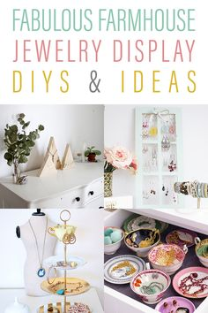 Fabulous Farmhouse Jewelry Display Ideas and DIYS - The Cottage Market - Fabulous Farmhouse Jewelry Display Ideas and DIYS that will help you get organized and show off you - Jewelry Store Displays, Craft Show Displays, Display Ideas, Bead Storage, Jewellery Storage, Jewellery Display, Diy Jewelry Holder, Hanging Jewelry Organizer, Necklace Holder