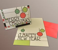 A7 Christmas & Happy New Year Cards set of 8 Frank by HASKINesque