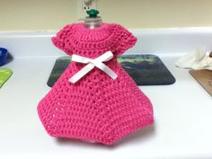 My Crocheted Dish Soap Bottle Dress in Bright Pink.