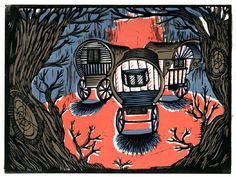 """Gypsy Camp"" by Sarah Tanant Jones (linocut)"