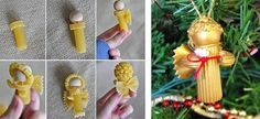 How to make sweet pasta angels - tutorial - And 16 more crafts using pasta! Homemade Christmas Decorations, Christmas Crafts For Kids, Xmas Crafts, Xmas Decorations, Christmas Pasta, Christmas 2016, Christmas Angels, Christmas Tree Earrings, Christmas Ornaments