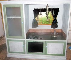 My kitchen has been pinned! Sweet :-)  DIY Play Kitchen from Abbie Quesnell