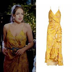 "Fallon Carrington wears this ruffled yellow floral-print Johanna Ortiz ""Milagro de Miel"" wrap-effect dress on Dynasty Fashion Tv, Fashion Books, Love Fashion, Fashion Outfits, Dress Outfits, Girl Outfits, Cute Outfits, Celebrity Outfits, Celebrity Style"