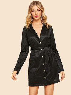 85b227ad7b6d32 SHEIN offers Pocket Patched Notch Collar Dress   more to fit your  fashionable needs.