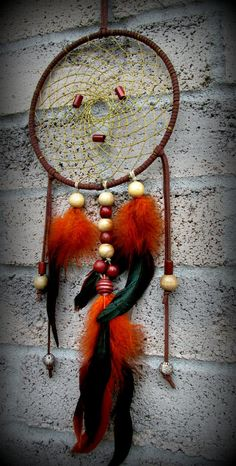 Wall hanging dream catcherOrange dream catcher by FineBubbles