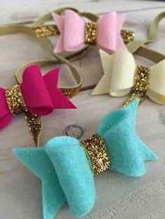Felt Bow with Glitter Headband by krystalshackelford on Etsy