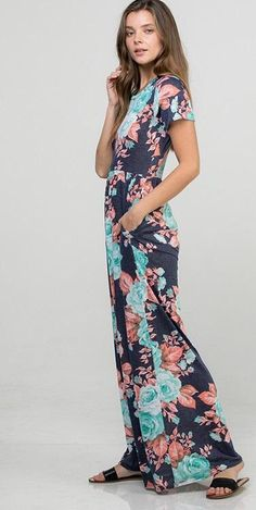 Floral Print Maxi Dress, Dress Outfits, Dresses, Modest Fashion, Royal Blue, Floral Prints, Outfit Ideas, Short Sleeves, Clothing