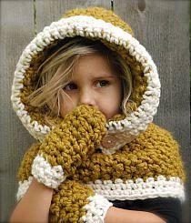 Fern Hood/Mitten Set Crochet pattern by The Velvet Acorn Diy Tricot Crochet, Bandeau Crochet, Crochet Hood, Crochet Scarves, Free Crochet, Knitting Projects, Crochet Projects, Knitting Patterns, Crochet Patterns