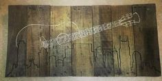 Rustic Nashville skyline with guitar hand painted wall art on repurposed wood x Nashville Art, Nashville Skyline, Nashville Apartment, Guitar Wall Art, Repurposed Wood, Cool Woodworking Projects, Kids Wood, String Art, Printable Wall Art