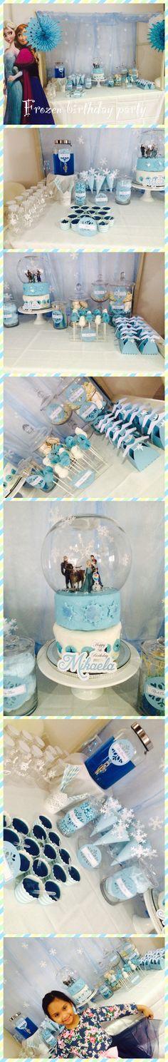 Disney's Frozen birthday party Elsa Anna Olaf - snowglobe cake, dress favor boxes, snowflake themed candy dessert table buffet- a little girls dream!