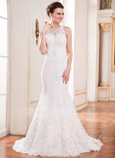 Trompete/Sereia Decote redondo Cauda de sereia Tule Renda Vestido de noiva com Bordado Lantejoulas (002051617)
