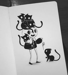 Drawing Doodles Sketchbooks Inktober Art inspiration and artwork drawing Dark Drawings, Cute Drawings, Drawing Sketches, Drawing Ideas, Art Manga, Anime Art, Skull Sketch, Creepy Art, Wow Art