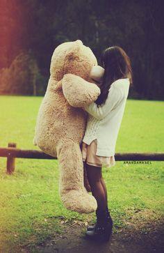 Girl holding a giant teddy bear in a grassy field during winter. Huge Teddy Bears, Giant Teddy Bear, Costco Bear, Bear Tumblr, Daddys Little Princess, Solo Photo, Teddy Bear Pictures, Teddy Girl, Bear Girl