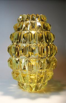 "AIMO OKKOLIN - A crystal vase ""Ananas"" (Pineapple) designed 1961 for Riihimäen Lasi Oy, in production Finland. Art Of Glass, Cut Glass, Glass Design, Design Art, Vases, Touch Of Gold, Chandelier, Amber Glass, Scandinavian Design"