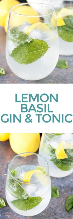 Lemon Basil Gin and Tonic is the way I'm increasing my gin and tonic game before the mid year is finished. The chomp of the lemon and sweet basil draw out each flavor in the gin! Summer Cocktails, Cocktail Drinks, Alcoholic Drinks, Beverages, Basil Cocktail, Cocktails With Basil, Processco Cocktails, Drinks Alcohol, Healthy Recipes