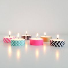 Trendy Birthday Ideas Presents Washi Tape Ideas Manualidades Washi Tape, Washi Tape Crafts, Washi Tapes, Deco Buffet, Deco Table Noel, Do It Yourself Inspiration, Candle Craft, Pretty Lights, Birthday Diy