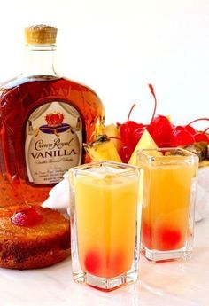 These Pineapple Upside Down Shots taste just like the dessert but in a glass! These Pineapple Upside Down Shots taste just like the dessert but in a glass! Liquor Drinks, Cocktail Drinks, Cocktail Recipes, Bourbon Drinks, Cocktail Shaker, Summer Drinks, Fun Drinks, Beverages, Food And Drinks