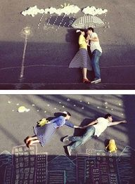 Weddings | Do A Double-take - Adorable engagement photos with chalk drawings - #photos #engagement #weddings