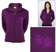 Embroidered Purple Paw Plum Fleece Jacket - Dog Love Jacket - LARGE #AnimalRescue #FleeceJacket