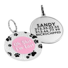 Dog ID Tag Personalized Enameled Baby Pink