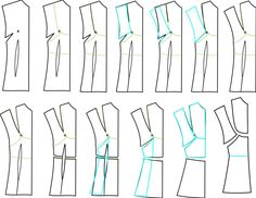 Brilliant pattern drafting tutorial to make new styles from Simplicity 2339 (creating a bib-style bodice/blouse front from another pattern)