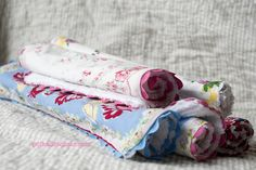 vintage hankie burp cloths tutorial - what a great baby gift idea via the polkadot chair