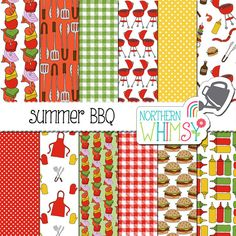 BBQ Digital Paper - summer cookout scrapbook paper - hand drawn seamless patterns - yellow, red, & green - commercial use
