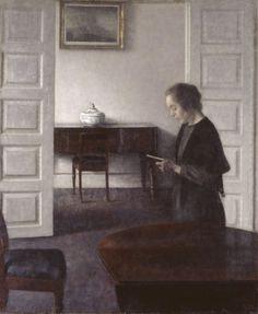 Interior with a Reading Lady (1900). Vilhelm Hammershøi (Danish,...