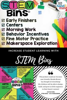 Looking for a fun and easy way to increase student learning and engagement in all academic areas? STEM bins is your answer! These STEM bins come with materials and supplies perfect for kids in kindergarten, first grade, 2nd grade, 3rd grade, and upper elementary. They come with differentiated task cards, teacher guide, and storage and label for simple organization. Use them for hands on science experiments, morning work, group challenges and activities and more - the ideas are endless!