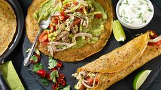 Try this great tasting savoury pancake recipe with chicken fajita, creamy guacamole, coriander, plump tomatoes and a few squeezes of lime. These pancakes are packed with Mexican flavours that will keep you wanting more. Savoury Pancake Recipe, Savory Pancakes, Chicken Fajitas, Guacamole, Chicken Recipes, Spicy, Avocado, Lime, Tomatoes