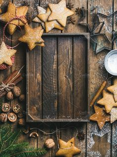 background Christmas New Year background. Gingerbread cookies sugar powder nuts spices baking molds fir-tree branch decorative rope on wooden background rustic tray in center top view copy space Large Christmas Baubles, Christmas And New Year, Christmas Time, Christmas Background Photography, Christmas Photography, Christmas Baking, Christmas Cookies, Gingerbread Cookies, New Years Background