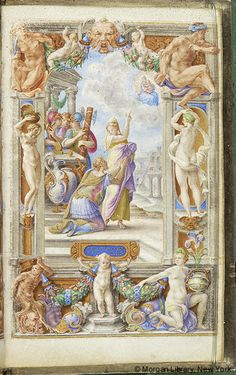 Farnese Hours, M.69, fol. 31r - Augustus: Prophecy of Sibyl -- Augustus, crowned, with joined hands raised, kneels looking up toward vision of Virgin Mary holding Christ Child, in mandorla amid clouds. Sibyl, veiled, standing before and looking at Augustus, indicates the vision with her right hand.
