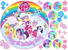 """EDIBLE MY LITTLE PONY RAINBOW 8"""" PERSONALISED BIRTHDAY ICING CAKE CUPCAKE TOPPER in Crafts, Cake Decorating   eBay"""
