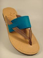 Turquoise Gray V Leather Slipper: made in Greece