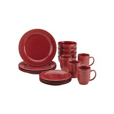 Rachael Ray Cucina, Red 16-Piece Set ($70) ❤ liked on Polyvore featuring home, kitchen & dining, dinnerware, stoneware dinner plates, red stoneware dinnerware, red dinnerware, red dishes and handmade stoneware dinnerware