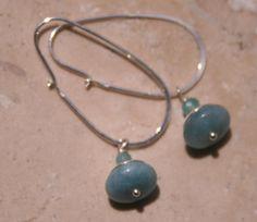 Light Blue Agate Dangle Sterling Silver Earrings by MissieRabdau, $28.00