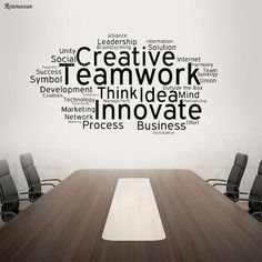 Us 776 37 Off Creative Teamwork Vinyl Wall Decal Team Work Office Art Decor Stickers Mural Innovate Inspirational Quote Wall Sticker In Wall Office Wall Design, Office Wall Decals, Office Walls, Office Art, Office Interior Design, Creative Office Decor, Office Wall Graphics, Office Team, Interior Livingroom