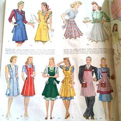 1104, 987, 917, 957, 884 ladies aprons  McCall January 1940s vintage patterns 1940s