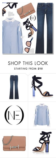 """""""Medium wash flare jeans"""" by paculi ❤ liked on Polyvore featuring Gianvito Rossi, Tod's, Grey Ant, StreetStyle, casual, SpringStyle, onedenim and slimdenim"""
