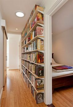 Small Home Libraries That Make a Big Impact Get inspiration for organizing your book collection with these 15 home library ideas.Get inspiration for organizing your book collection with these 15 home library ideas. Small Space Living, Living Spaces, Wall Spaces, Small Rooms, Living Rooms, Small Home Libraries, Public Libraries, Small Apartment Decorating, Narrow Hallway Decorating