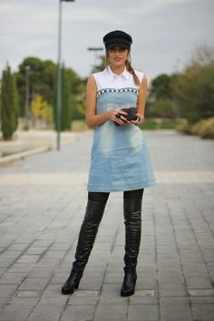 Blue Contrast Lapel Sleeveless Bleached Denim Dress - Fashion Clothing, Latest Street Fashion At Abaday.com