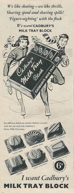 1950's Cadbury's Chocolate advert Vintage Advertising Posters, Food Advertising, Vintage Advertisements, Vintage Posters, Vintage Packaging, Vintage Labels, British Candy, British Chocolate, Cadbury Chocolate
