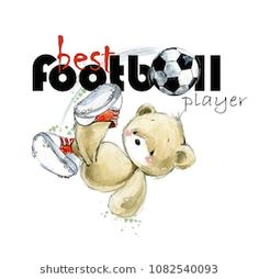 cute teddy bear Soccer player hand drawn watercolor illustration. Best football player. kids football background