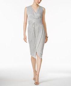 Rachel Rachel Roy Pleated Metallic Wrap Dress - Silver XXL