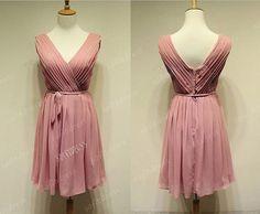 peach  bridesmaid dress v neck bridesmaid dresses by sofitdress, $99.00