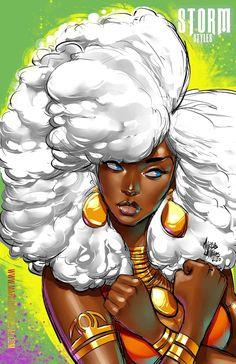 Storm art by Marcus Williams Black Cartoon Characters, Black Girl Cartoon, Cartoon Art, Black Love Art, Black Girl Art, Art Girl, Black Girls Drawing, Black Comics, Black Art Pictures
