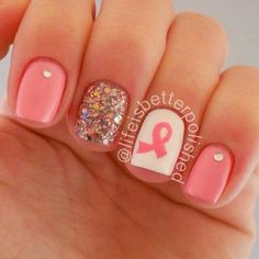 Pretty nail design for breast cancer awareness