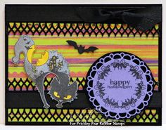 Prickley Pear Rubber Stamps: Scary Cats and Bats Clearly Beautiful Stamp Set, Scary Cat and Bat Die, Circles Clear Fall Clearly Beautiful Stamp Set, Scalloped Circle Die.